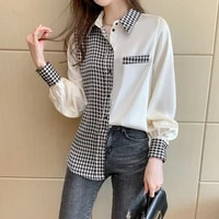 casual plaid shirt office lady spliced tops patchwork 2021 korean fashion clothing long sleeve streetwear plus size satin blouse