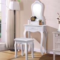 Compact Vanity Large Mirror Makeup Dressing Table Stool Set High Quality Black White Bedroom Dresser Furniture 3 Drawers HW52951