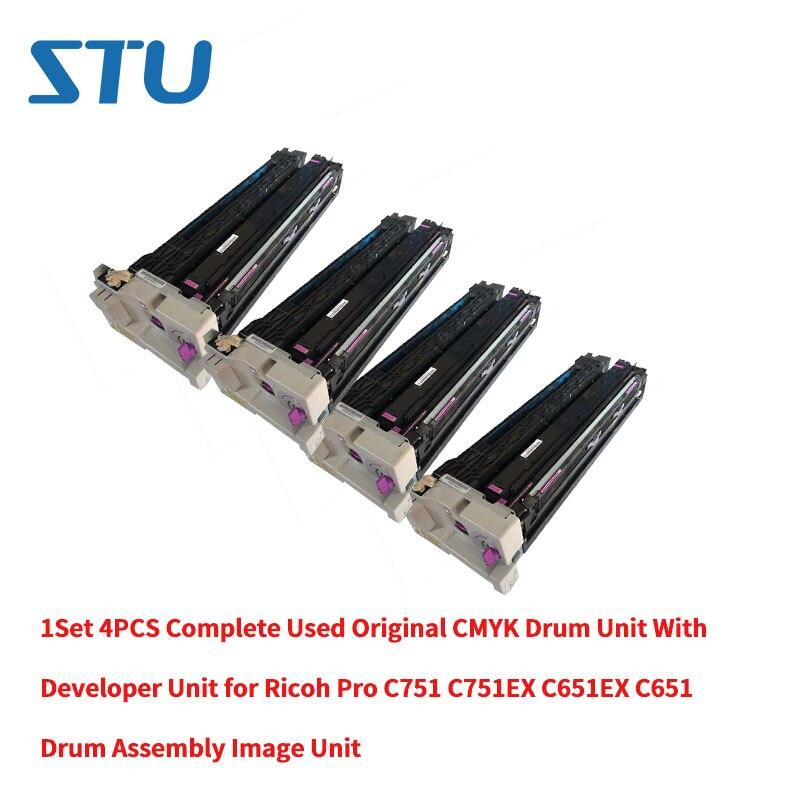 1 piezas/C/M/Y/K completo originales usados CMYK unidad de tambor con el desarrollador de la unidad para Ricoh pro C751 C751EX C651EX C651 imagen unidad
