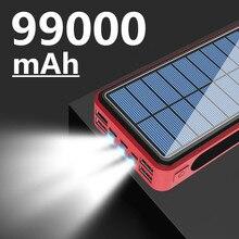 99000mAh sans fil solaire batterie Portable téléphone charge rapide chargeur externe PowerBank 4 USB LED éclairage pour Xiaomi iphone
