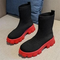 new spring autumn plus size platform womens boots fashion casual women shoes breathable knitted socks womens riding boots