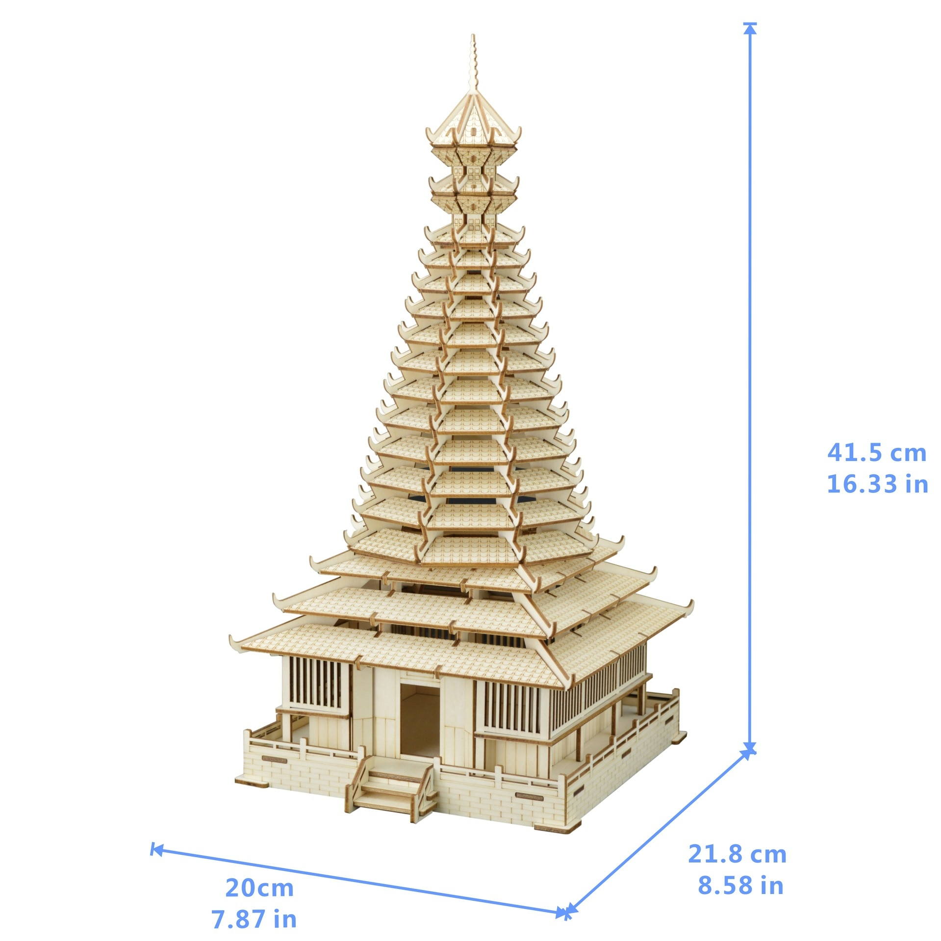 Kit de montaje de rompecabezas de madera en 3D DIY de torre de tambor de sanzhou para cortar juguetes de madera para regalo de Navidad 3197
