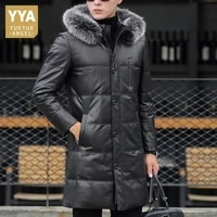 winter brand down coat men 100 genuine leather thick warm outerwear casual hooded fox fur collar long jacket plus size 4xl