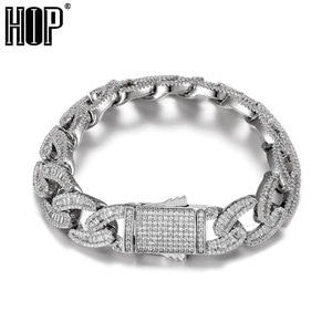 Hip Hop 15MM Baguette Cuban Link Chains Bling Iced Out CZ Setting AAA+ Cubic Zirconia Box Buckle Bracelet For Men Jewelry