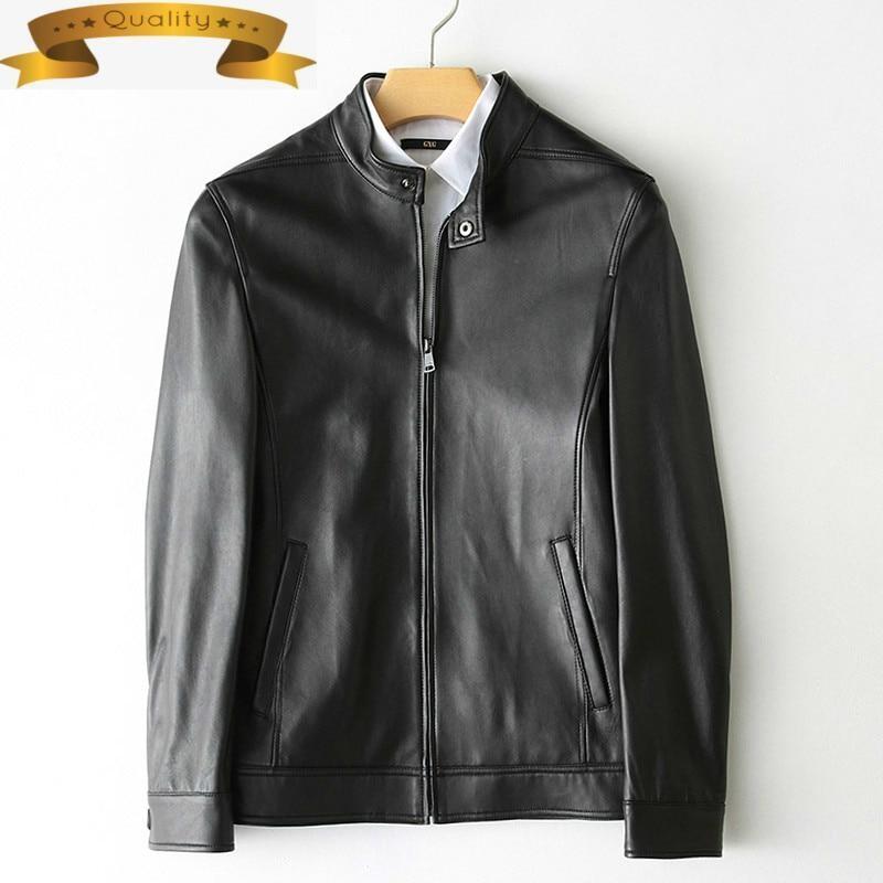 Leather New Genuine 2021 Jacket Men Spring Autumn Sheepskin Coat Short Slim Motorcycle Mens Leather Jackets 9723-2 KJ2110