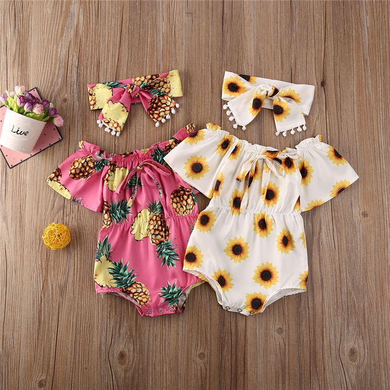 0-24M Neugeborenen Kleinkind Infant Baby Mädchen Blume Ananas print Romper Overall Overall Stirnband 2PCS Outfits Kleidung