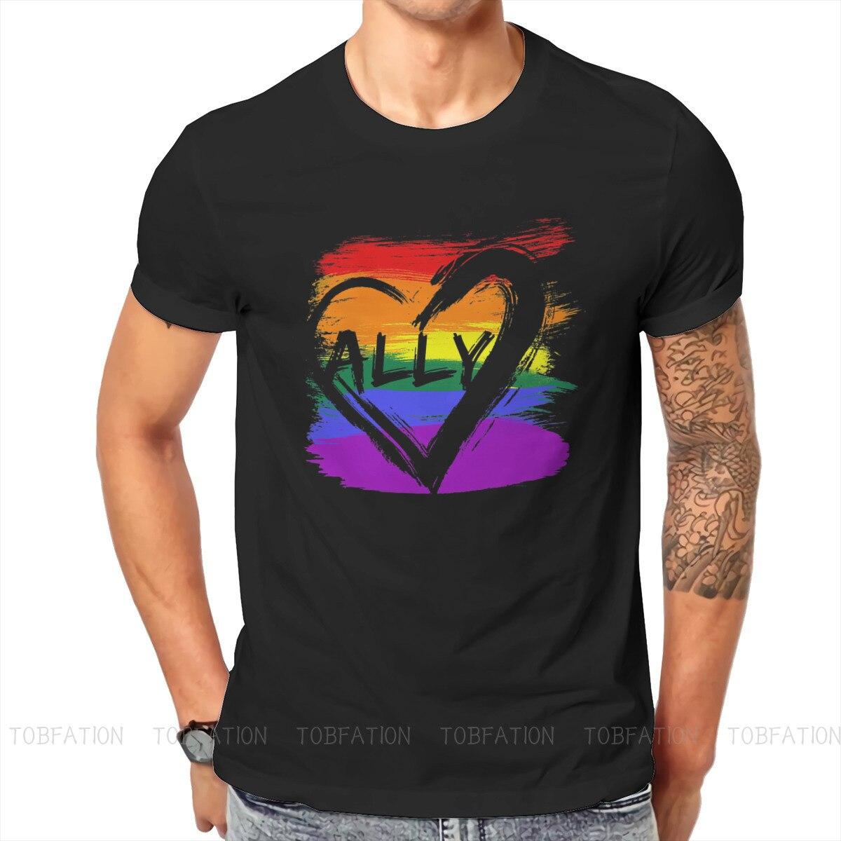 LGBT-Camiseta clásica para hombres, prenda de vestir, de algodón, suelta, con cuello...