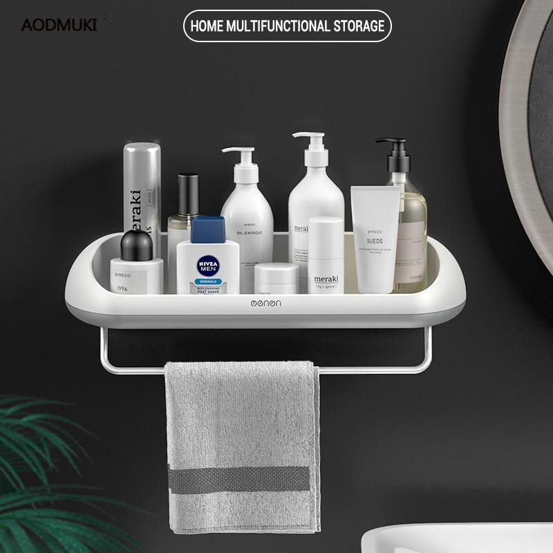 Wall Storage Shelf Rack for Kitchen Goods Bathroom Organizer Accessories Bath Toilet Sink Wall Towel Makeup Storage Shelfs