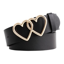 Double Love Heart Women Belt Fashion Alloy Pin Buckle Leather Belt Black White Female Ladies Jeans B