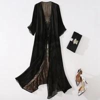 high quality 100 silk dress women retro long silk cardigan half sleeve casual shirt dress women new fashion