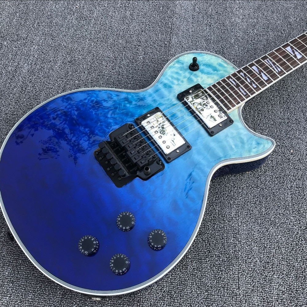 custom shop.Mahogany body electric guitar. Standard blue color flame top gitaar.Rosewood fingerboar guitarra.musical instruments