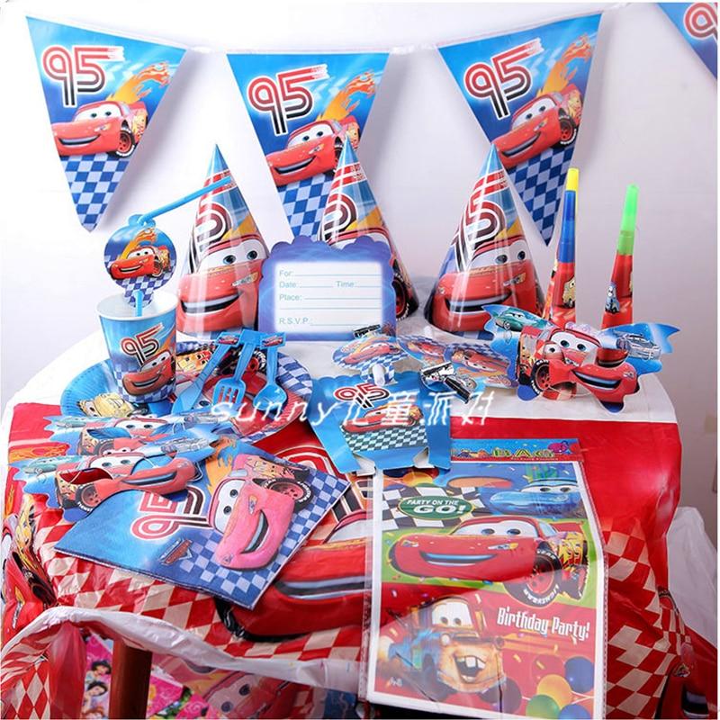 115 Pcs set Cartoon Kids Favors Disney Blitz McQueen Autos thema Geburtstag Party-Baby-Dusche Tischdecke Banner Partei Liefert