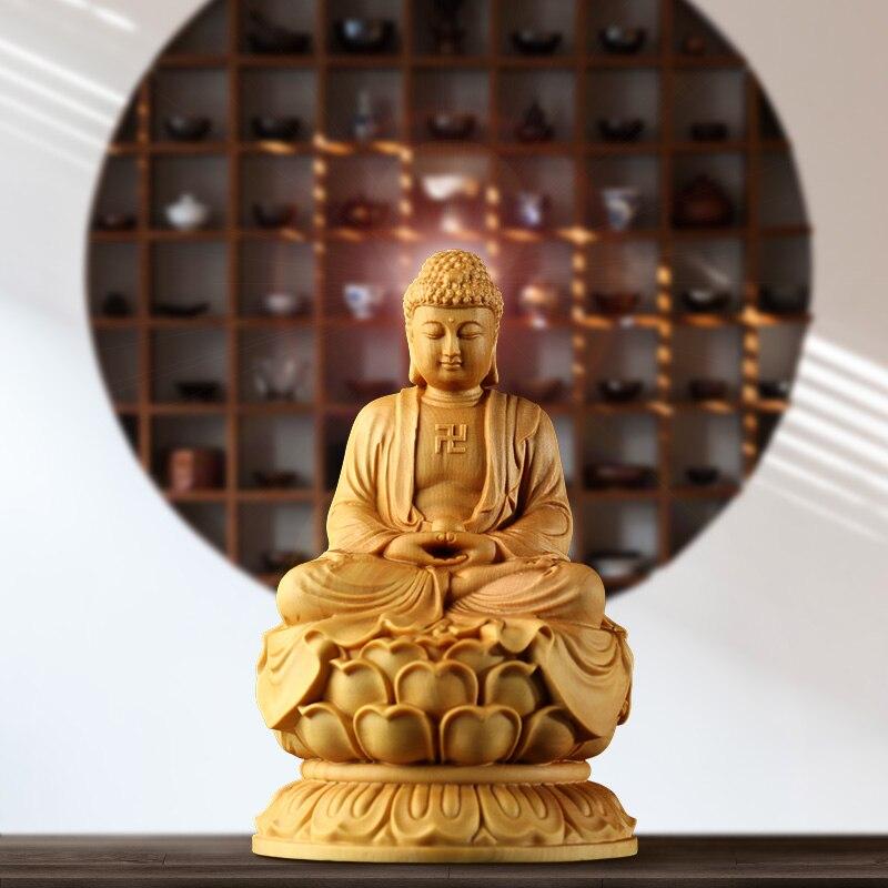 Bukszpan 10cm Sakyamuni posąg buddy solidna rzeźba z drewna mały budda Zen Home Decoration Home Decor