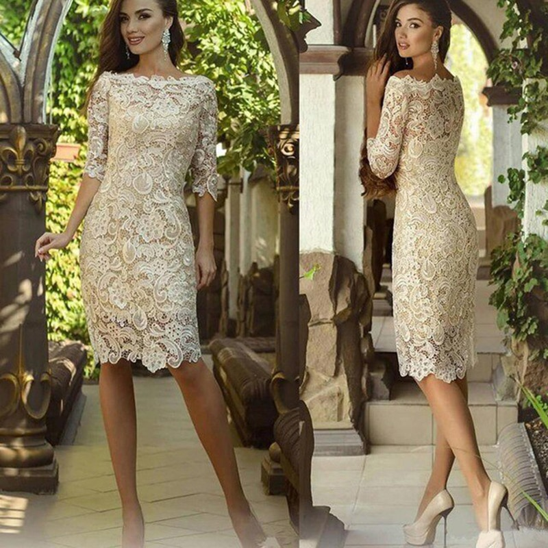 black zip design square neck 3 4 length sleeves dresses Charming Off White Lace Knee Length Boat Neck Mother of the Bride Dresses Sheath Wedding Party Gowns With 3/4 Sleeves