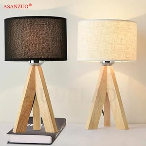 Modern Book Lamps E27 Reading Lighting Fixture Wooden Table Lamp With Fabric Lampshade Wood Bedside Desk lights