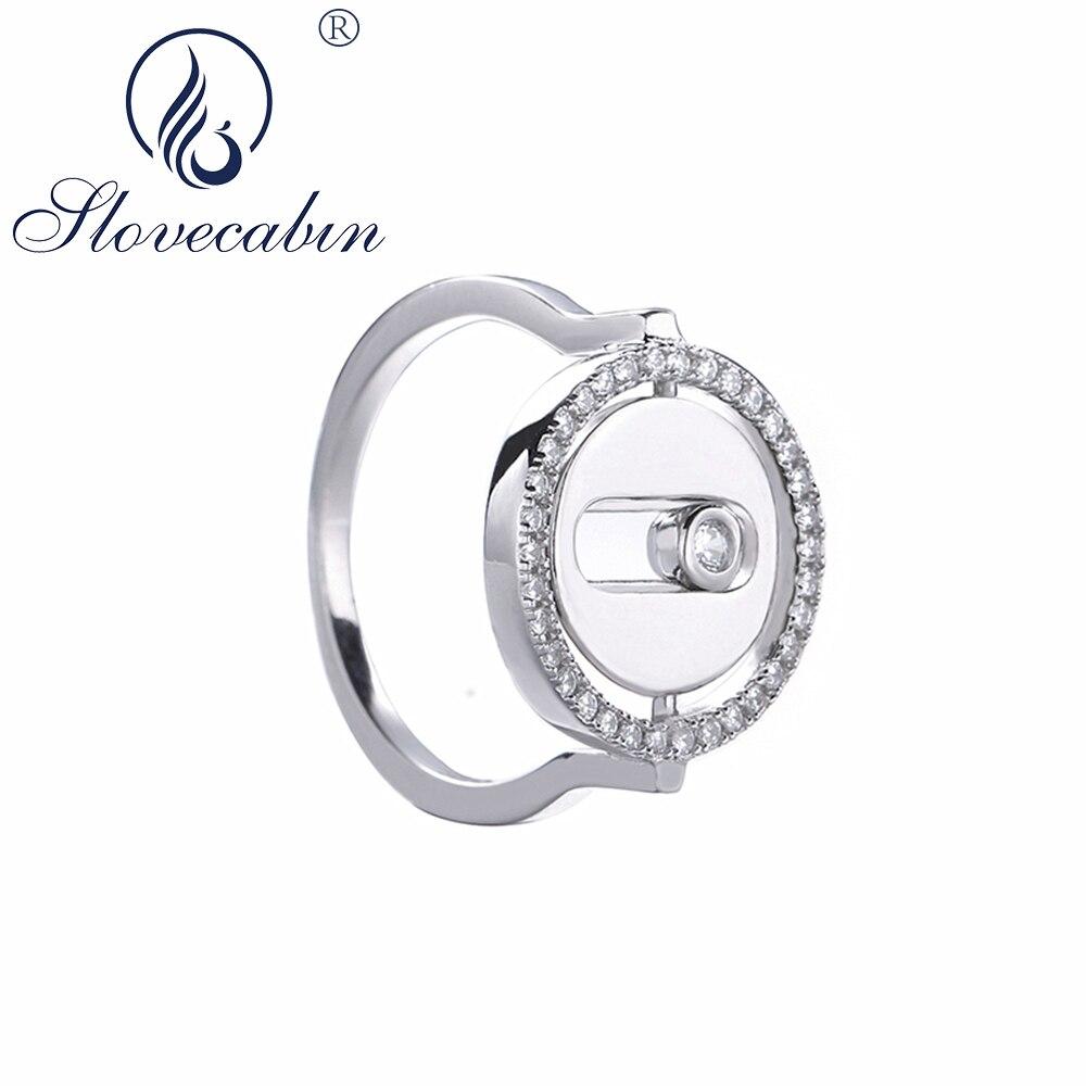 Slovecabin 925 فضة رومانسية الزركون محظوظ نقل خاتم للنساء هدية الكريسماس جديد وصول عين الشر تدور باجو مجوهرات