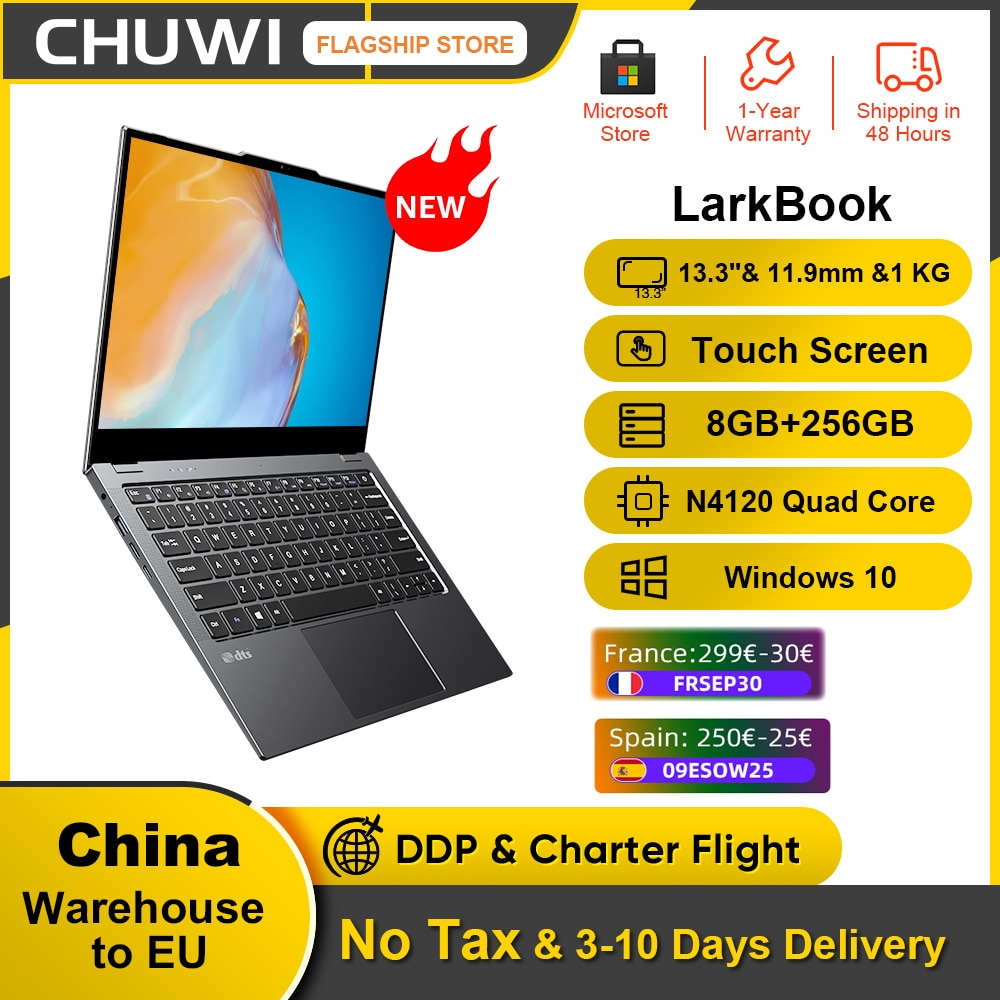 Get New CHUWI LarkBook 13.3inch 1920*1080 IPS Touch Screen 8GB RAM 256GB SSD Laptop Intel N4120 Quad Core Windows 10 Computer PC