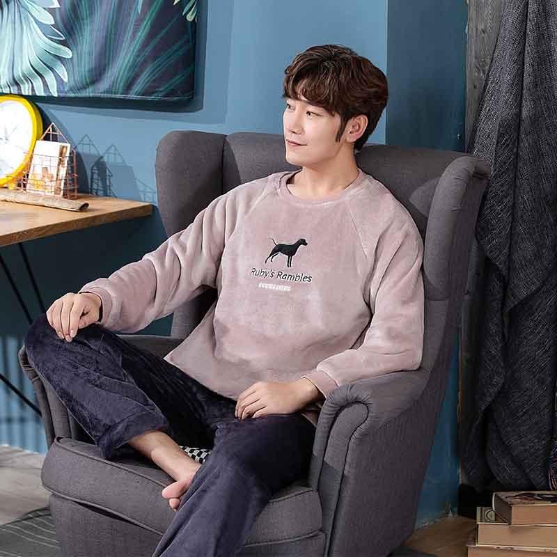 2020 новинка стиль мужчины% 27 пижамы комплект осень зима теплый фланель утолщение мужские пижамы комплекты длинный рукав одежда для сна топ брюки% 2B досуг