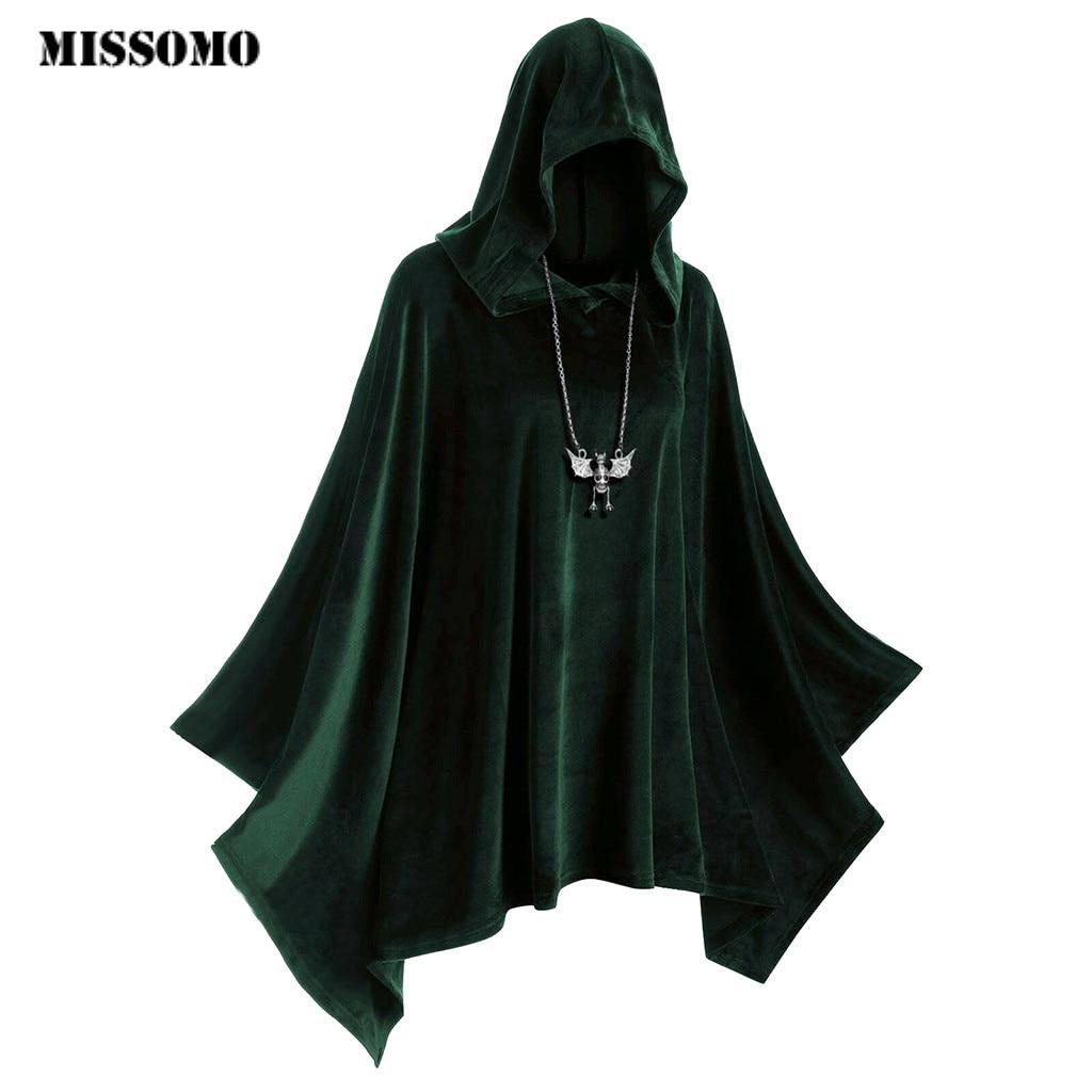 Missomo vintage t shirt feminino hollween womens gothic manto combinando com capuz capa com capuz camisa feminina 2019 topo feminino 830