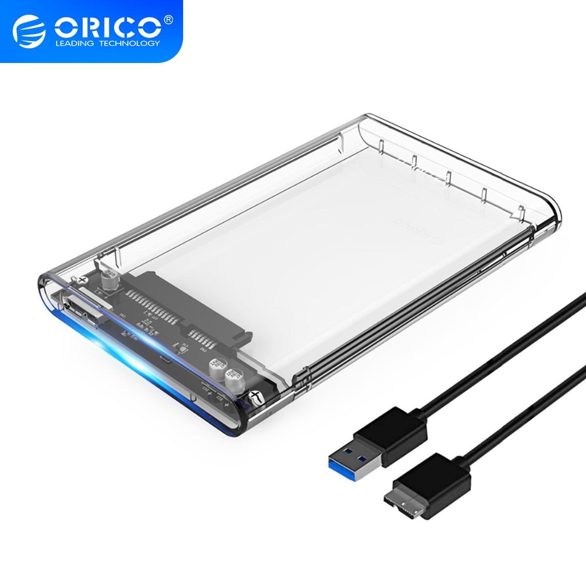 ORICO 2139U3 Hard Drive Enclosure 2.5 inch Transparent USB3.0 Support UASP Protocol for 7-9.5 mm HDD