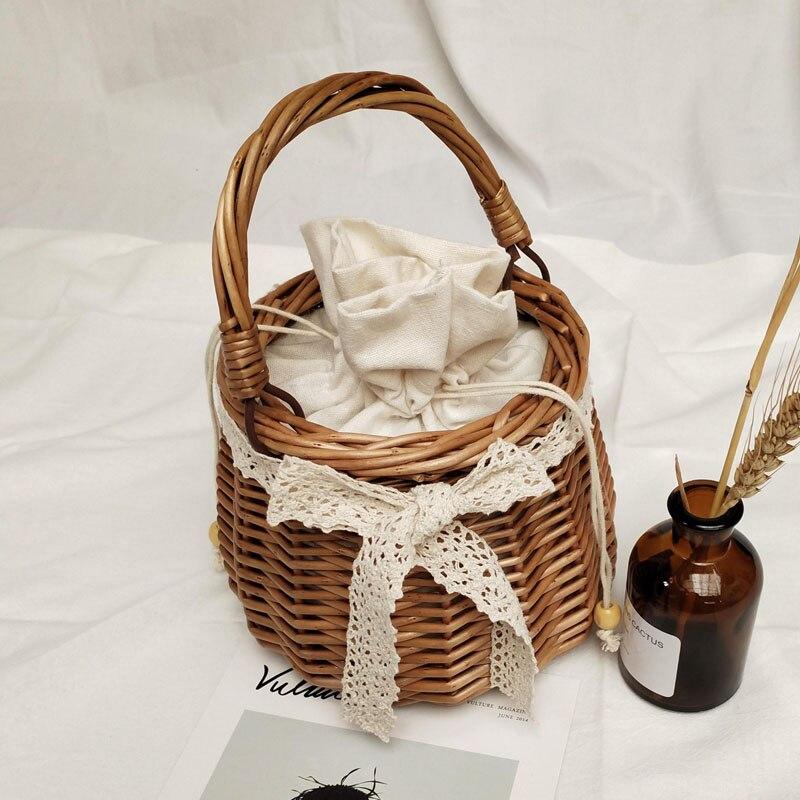 Summer new round bag mini ins straw bag rattan handbag women lace bow bucket bag