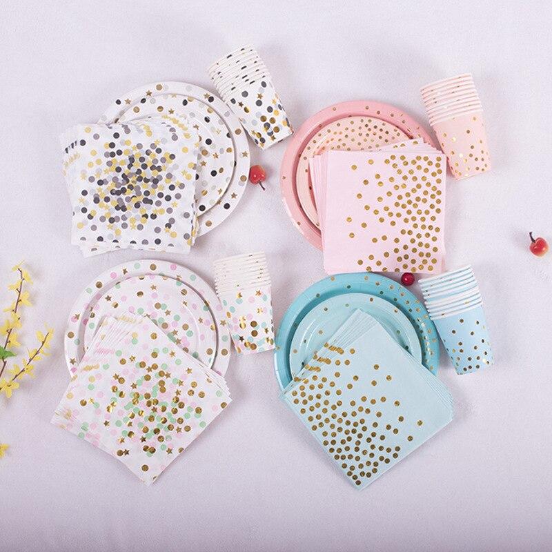40 Uds decoración de fiesta de año nuevo vajilla desechable dorada servilletas para tazas estrella para bebé cumpleaños fiesta boda Navidad