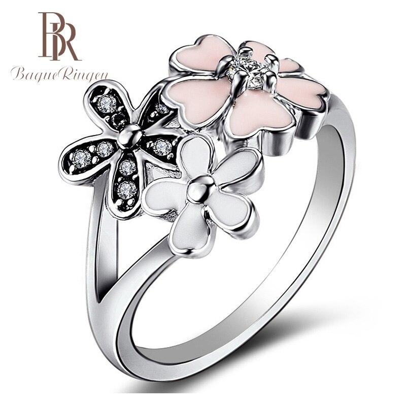 Anillo Bague, nuevo diseño de flor de cerezo en forma de flor, anillos de joyería de plata de ley 925 para mujeres, anillo de compromiso de boda