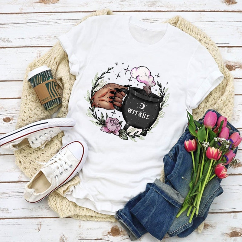 Woman Pattern T-shirt Witch Coffee Cartoon Fashion Summer Plus Size Top Harajuku Ladies Clothes