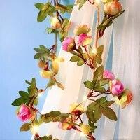 2m5m10m rose flower string lights solar rose flower vine lamp valentines day christmas garland birthday wedding party decor
