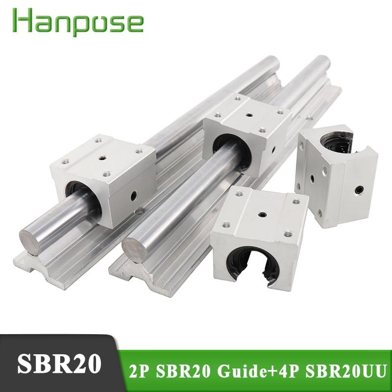 2 قطعة دليل خطي SBR20 خطي السكك الحديدية رمح دعم L200-1000 و 4 قطعة SBR20UU كتل تحمل الخطية لقطع التصنيع باستخدام الحاسب الآلي