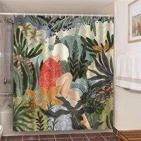 Ensemble de salle de bain a feuillage vert  avec rideaux de douche  cheveux blancs  imprime artistique  ecran de bain en Polyester impermeable  180