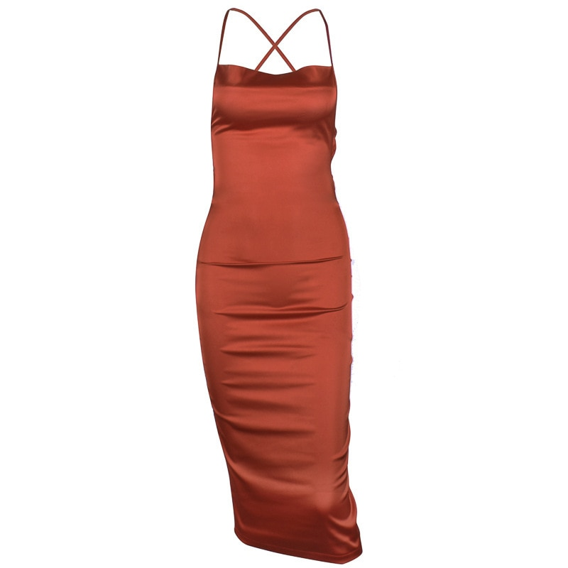 ¡Novedad de 2020! Vestido largo medio rojo de verano con encaje de satén de neón para mujer, vestidos elegantes sin espalda y sin mangas para fiestas, ropa de fiesta Sexy