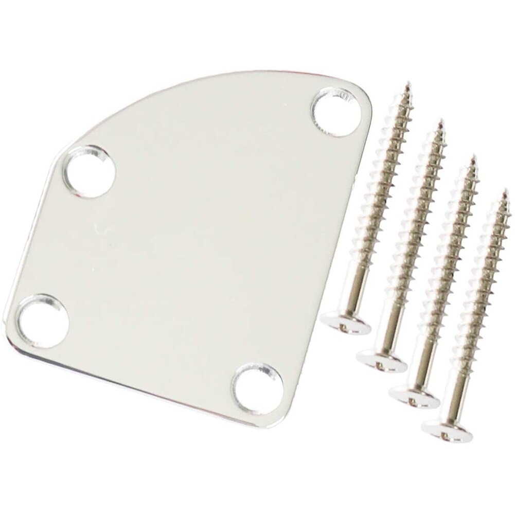 Guitar Neck Plate Semi Round Neck Joint Back Mounting Plate With 4 Screws For Electric Guitar Bass Parts Replacement 3 Color ootdty guitar tremolo locking nut 3 clamp 3 screws for electric neck