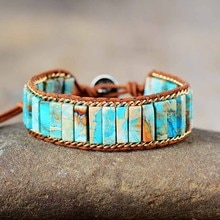 Latest Leather Wrap Bracelets Jaspers Lapis Chain Cuff Bangles Bracelets Bohemian Punk Jewelry Dropshipping