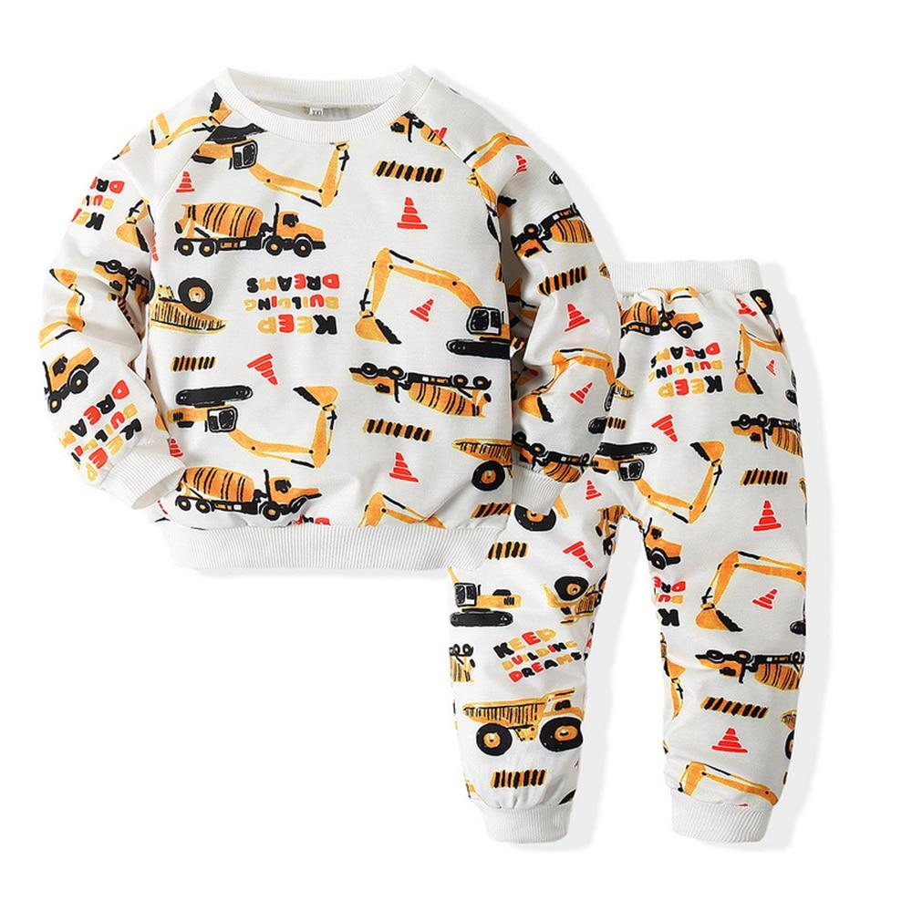 Baby Boy Clothes Set Crewneck Sweatshirt Anime Car Suit Children Outfits Kid Free Shipping Clothing Boutique Wear Pants+Top 2pcs