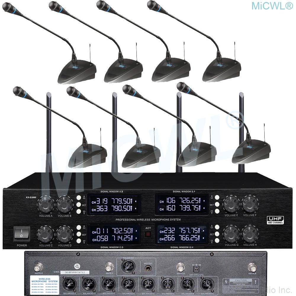 Micrófono inalámbrico MiCWL 8 con cuello de cisne para escritorio, micrófono inalámbrico de 400 canales para Radio de conferencia, sistema de salas de reuniones 8 XLR