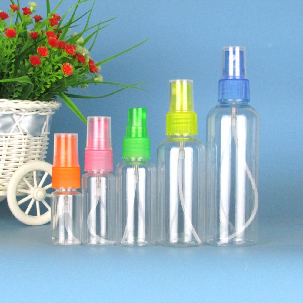 Botella de Spray rellenable, envases cosméticos vacíos, atomizador de plástico, botella de Perfume portátil de viaje 10/20/50/100ml