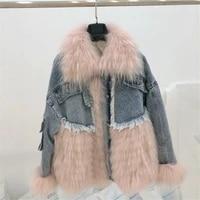 denim jacket parka winter thick warm women parkas medium long real raccoon fur coat