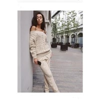 2020 drawstring wool and american high end women suit new 2 pieces of suits a neck knit sweater trousers fashion two of mink