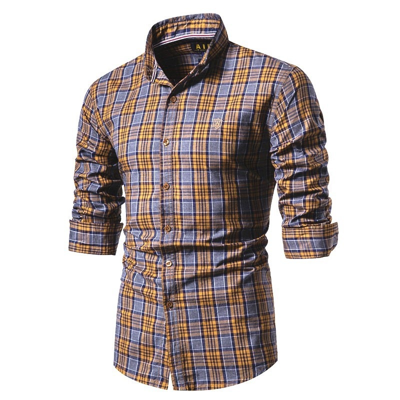 2020 New Spring 100% Cotton Men Shirt Long Sleeve Plaid Social Shirt Men Slim Fit High Quality Social Business Mens Dress Shirts selected men s 100% cotton slim fit embroidered long sleeved shirt s 419305564