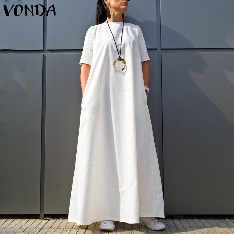 Vonda vestido solto de 2020, casual, gola redonda, manga curta, cor sólida, vintage, cafetã, tamanho grande, feriados, vestido de praia 5xl