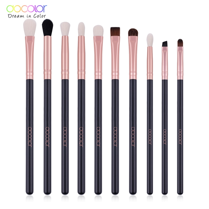 Набор кисточек для макияжа Docolor 10 шт., тени для век из розового золота, кисти для макияжа, мягкие синтетические волосы для красоты