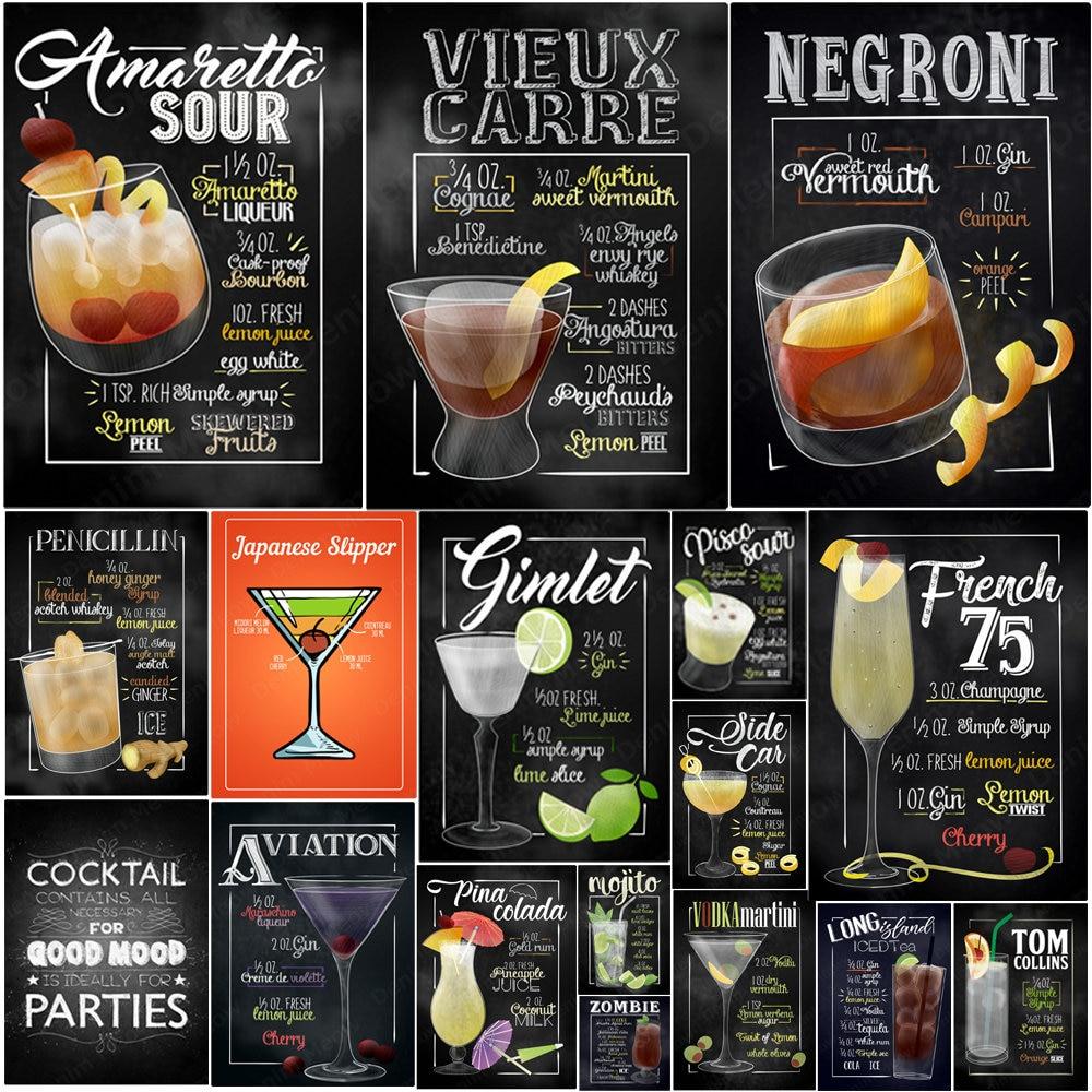 Martini francés-carteles de hojalata Vintage, Amaretto Sour Negroni Tom Collins, placa con...