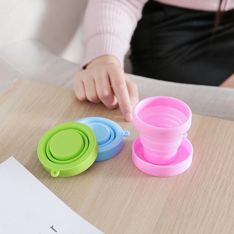 170 мл силиконовые складные чашки, чашка для воды пищевого класса, 4 цвета, дорожные выдвижные цветные портативные уличные чашки для кемпинга