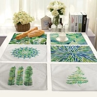 good green mood theme dining table pad kitchen placemat coaster cotton linen pads western mat home decor accessory 4232cm 1pc