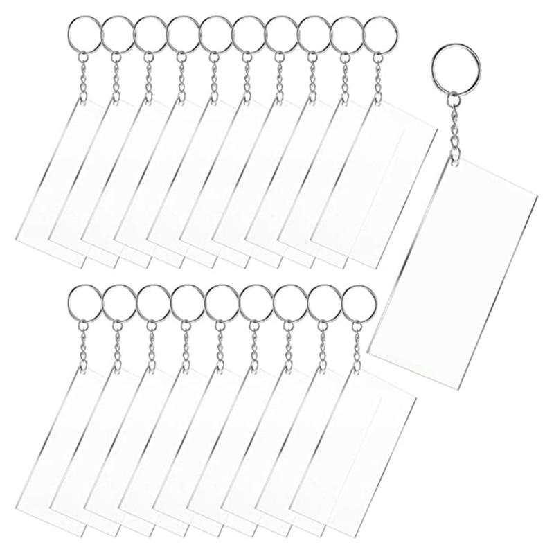 20 Pcs Rectangle Shape Clear Acrylic Blanks+20 Pcs Keychain Metal Key Rings Kit X6HE