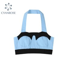 2021 Summer Vogue Sexy Patchwork Crop Tops For Women Halter Fitness Tight Bustier Strappy Skinny T-S