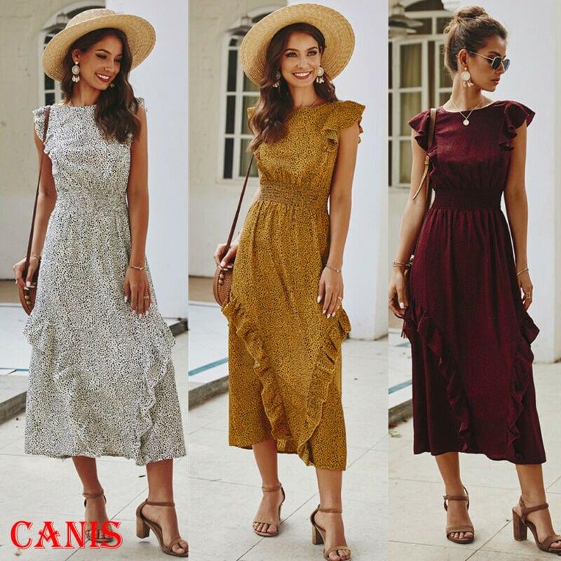 Mujeres verano Boho elegante largo vestido Midi Cocktail Party Beach ropa diaria vestidos Polka Dot vestido