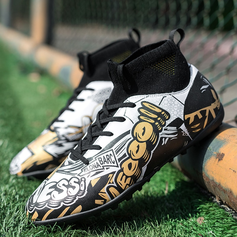 Original Soccer Shoes Men High-top Football Boots Breathable Nonslip Futsal Shoes TF/AG Cleats Indoor Soccer Boots Kids Sneakers