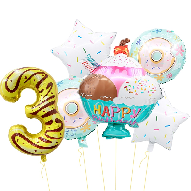Ice cream aluminum foil balloon 32 inch number balloon children food ball birthday party decoration baby shower party supplies
